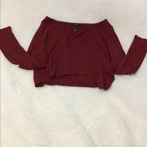 Forever 21 red long sleeve crop top